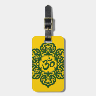 Green Lotus Flower Om on Yellow Tags For Bags
