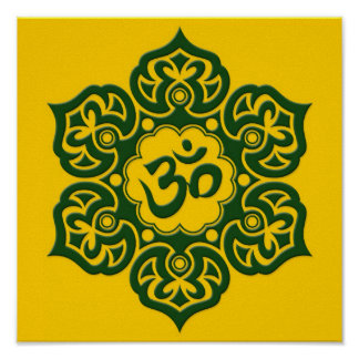 Green Lotus Flower Om on Yellow Posters