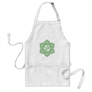 Green Lotus Flower Om Standard Apron