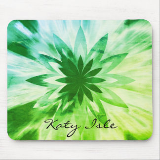 Green Lotus Flower Watercolor Ethnic Paint Mouse Pad