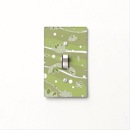 Green Lotus Flowers on Olive Stripes Light Switch Cover