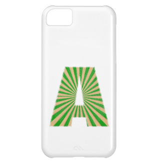 Green Lotus Leaf n Sparkle AAA Fine Alphabet Case For iPhone 5C