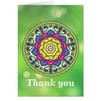 Green Lotus Mandala Card