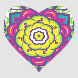 Green Lotus Mandala Heart Sticker