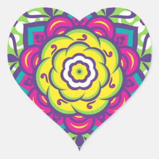 Green Lotus Mandala Heart Sticker
