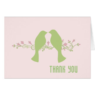 Green Love Birds Wedding Thank You Card