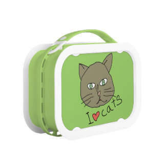 green love cats lunch box