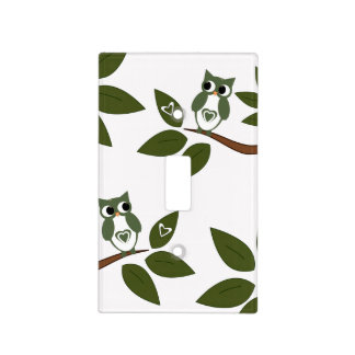Green Love Owl Light Switch Cover