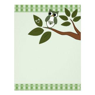 Green Love Owl Stationary Letterhead