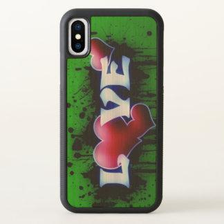 Green love red hearts graffiti art iPhone x case