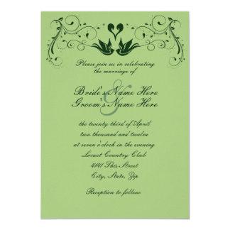 Green Lovebirds Wedding Invitation