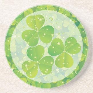 Green lucky charm clover shamrock drink coaster