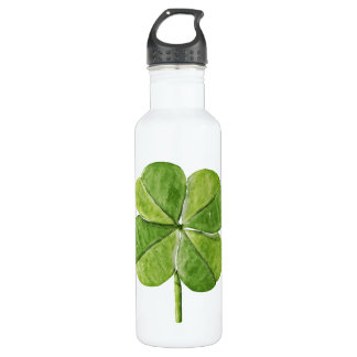 Green lucky Four-leaf clover Shamrock hand painted