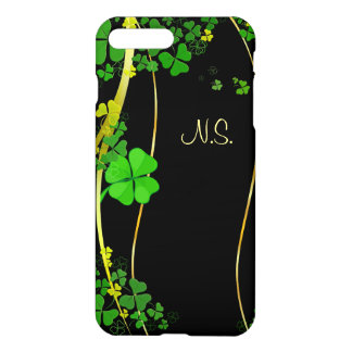 Green Lucky Shamrock  black faux glitter wave