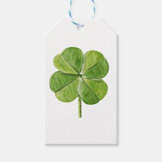 Green lucky shamrock clover Saint Patrick Day Gift Tags