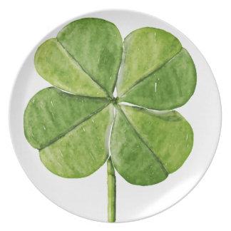 Green lucky shamrock clover Saint Patrick Day Plate