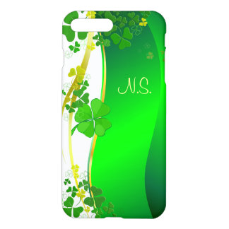 Green Lucky Shamrock  faux glitter wave