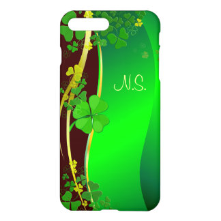 Green Lucky Shamrock  faux glitter wave iPhone 8 Plus/7 Plus Case