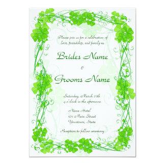Green Lucky Shamrock Wedding Invitation