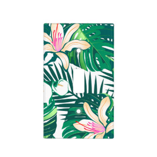 Green lush plants light switch cover