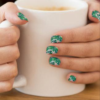 Green lush plants minx nail art