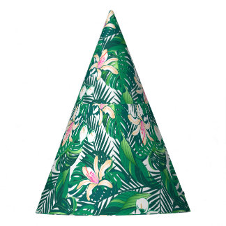 Green lush plants party hat