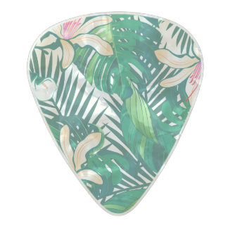 Green lush plants pearl celluloid guitar pick