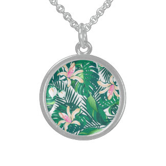 Green lush plants sterling silver necklace