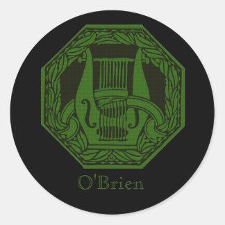 Green Lyre Badge Round Sticker