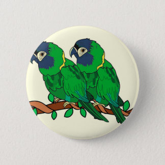 green macaw parrot love art 2 inch round button