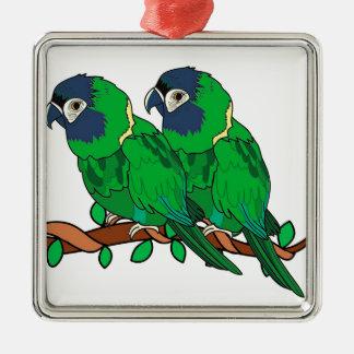 green macaw parrot love art metal ornament