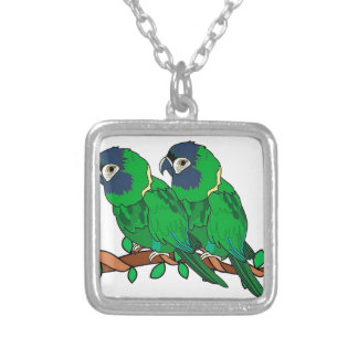 green macaw parrot love art silver plated necklace