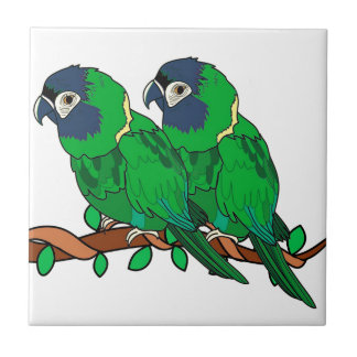 green macaw parrot love art tile