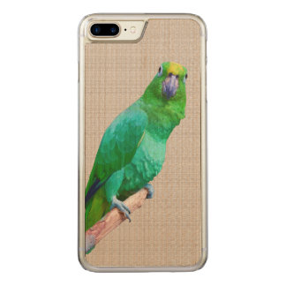 Green Macaw Parrot on a Limb Carved iPhone 7 Plus Case
