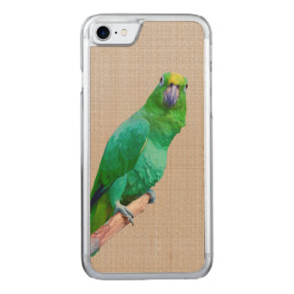 Green Macaw Parrot on a Limb Carved iPhone 8/7 Case