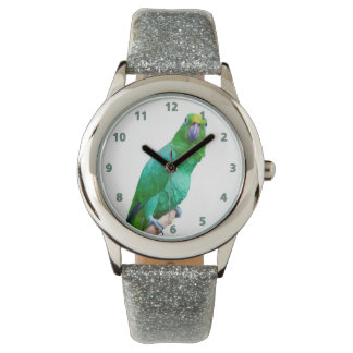 Green Macaw Parrot on a Limb Customizable Watches