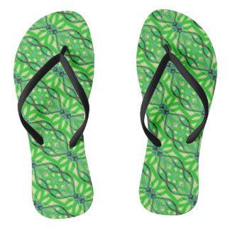 Green machine jungle flip flops