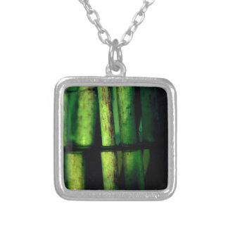 Green macro silver plated necklace