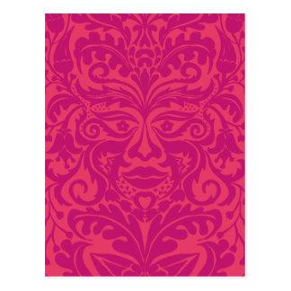 Green Man in 2 tones of Pink Postcard