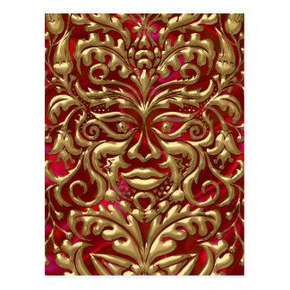 Green Man in liquid gold damask on red satin print Postcard