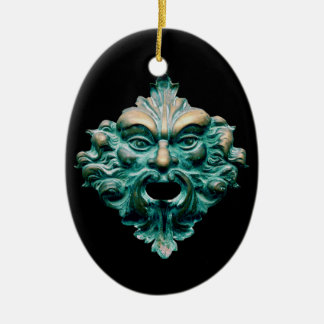 Green Man on Oval, Black & 2015 Ceramic Oval Ornament