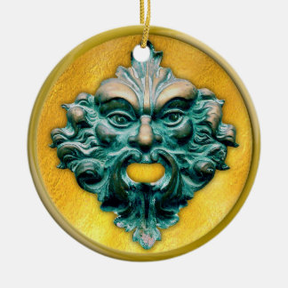 Green Man with Gold Frame Ceramic Ornament