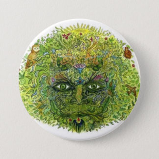 Green Man, WoodWose, Foliate Head, Pagan, Wiccan 3 Inch Round Button