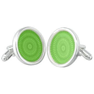 Green mandala cufflinks