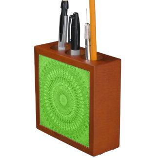 Green mandala desk organizer