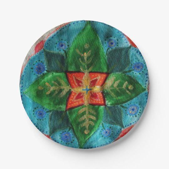 Green Mandala Flower  Custom Paper Plates 7 in