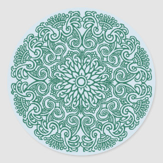 Green Mandala Motif Stickers