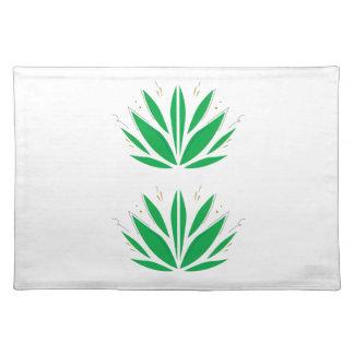 Green mandala  on white placemat