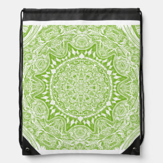 Green Mandala Pattern Drawstring Bag