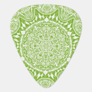 Green Mandala Pattern Guitar Pick